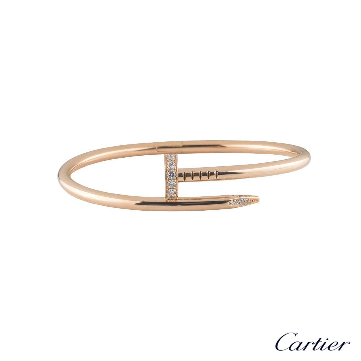 Cartier Rose Gold Diamond Juste Un Clou Bracelet Size 17 B6048517